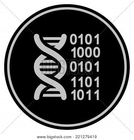 Genome black coin icon. Vector style is a flat coin symbol using black and light gray colors.