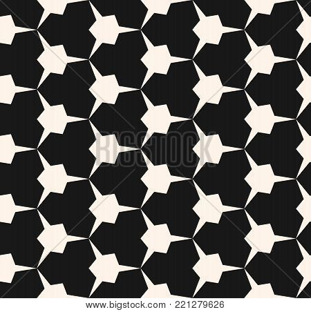 Vector geometric mosaic seamless pattern with edgy triangular shapes. Abstract monochrome geometric ornament. Simple mosaic texture. Modern geometrical repeat background. Stylish dark design for home decor, fabric, covers, textile, carpet