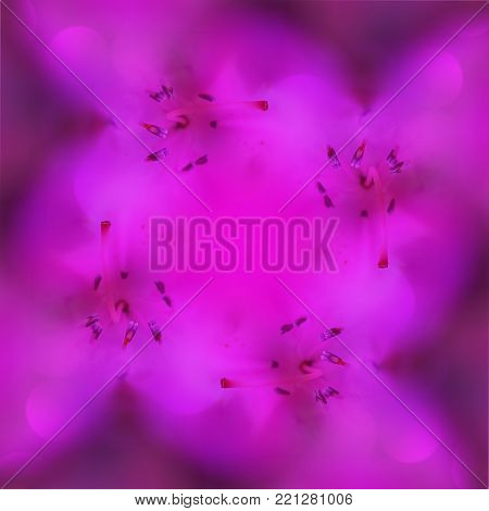 Purple kaleidoscope background with azalea stamens and bokeh. Square spring floral symmetric template. Magical, miraculous, marvellous image
