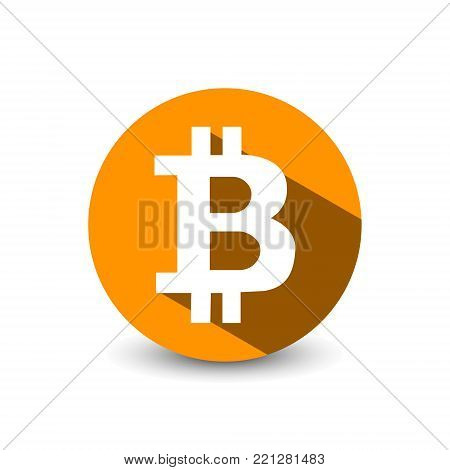 Crypto currency Bitcoin flat vector logo, icon for web, sticker for print. Bitcoin blockchain cryptocurrency.