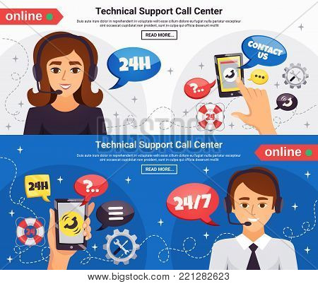 Technical support call center operators 24h online service 2 horizontal background banners webpage design isolated vector illustration