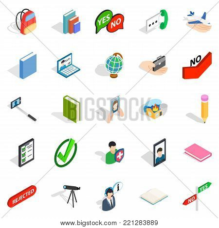 Casual conversation icons set. Isometric set of 25 casual conversation vector icons for web isolated on white background