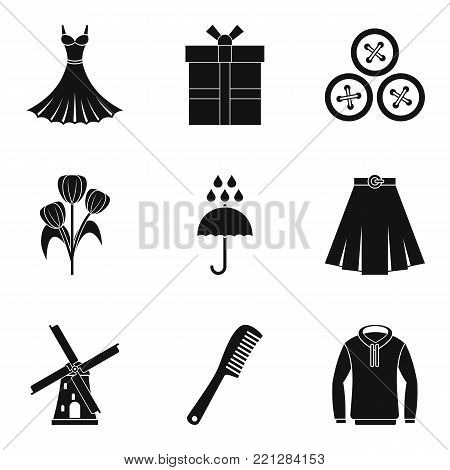 Dressing icons set. Simple set of 9 dressing vector icons for web isolated on white background