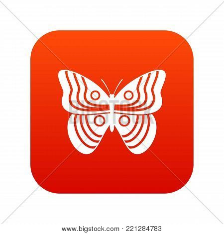 Stripped butterfly icon digital red for any design isolated on white vector illustration