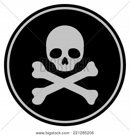 Skull And Crossbones black coin icon. Vector style is a flat coin symbol using black and light gray colors.