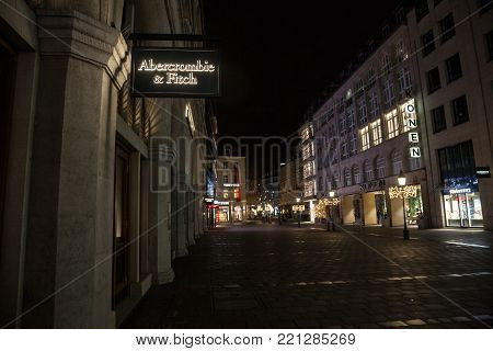 MUNICH, GERMANY - DECEMBER 17, 2017: Abercrombie & Fitch logo on their Munich main shop taken at night. Abercrombie & Fitch is American retailer specialized in Youth wear