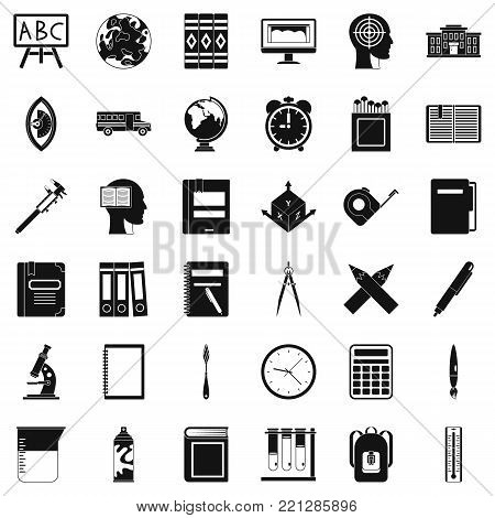 Lesson icons set. Simple style of 36 lesson vector icons for web isolated on white background