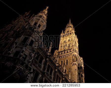 Munich new city hall (Neues Rathaus) taken during a snown winter night. Neues Rathaus is a town hall at the northern part of Marienplatz in Munich, Bavaria, Germany