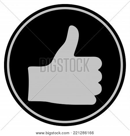 Thumb Up black coin icon. Vector style is a flat coin symbol using black and light gray colors.