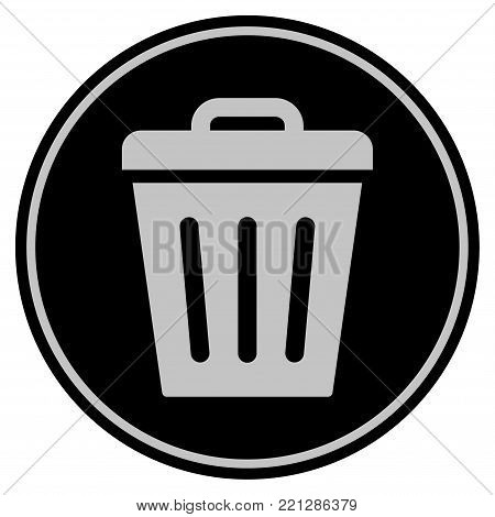 Trash Can black coin icon. Vector style is a flat coin symbol using black and light gray colors.