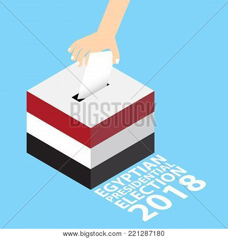 Egyptian Presidential Election 2018 Vector Illustration Flat Style - Hand Putting Voting Paper in the Ballot Box