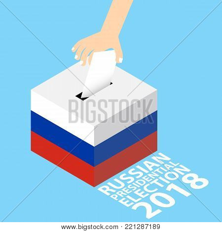 Russian Presidential Election 2018 Vector Illustration Flat Style - Hand Putting Voting Paper in the Ballot Box