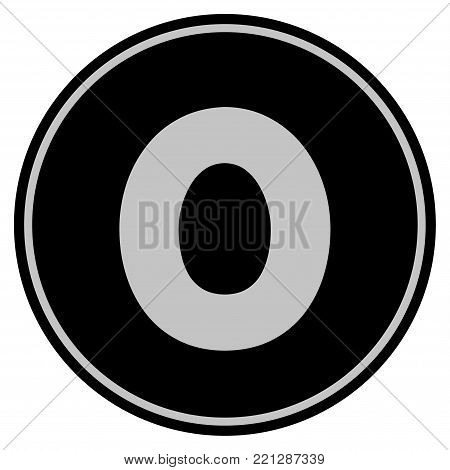 Zero black coin icon. Vector style is a flat coin symbol using black and light gray colors.