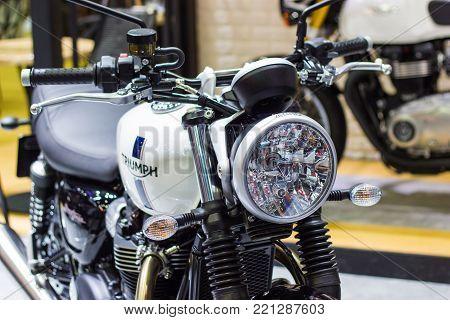 Bangkok Thailand - December 2, 2017: Detail parts of Headlight Triumph Motorcycle