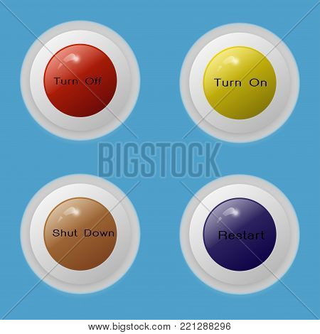 Button 4 multi color vector turn on and turn off