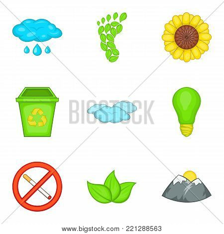 Monitoring of the environment icons set. Cartoon set of 9 monitoring of the environment vector icons for web isolated on white background