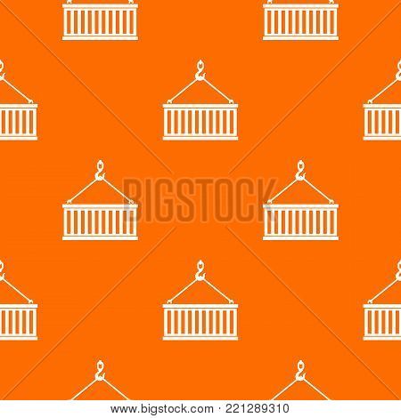 Crane hook lifts container pattern repeat seamless in orange color for any design. Vector geometric illustration