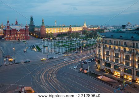 Manezhnaya Square, Historical museum near Kremlin wall in Moscow, Russia at evening