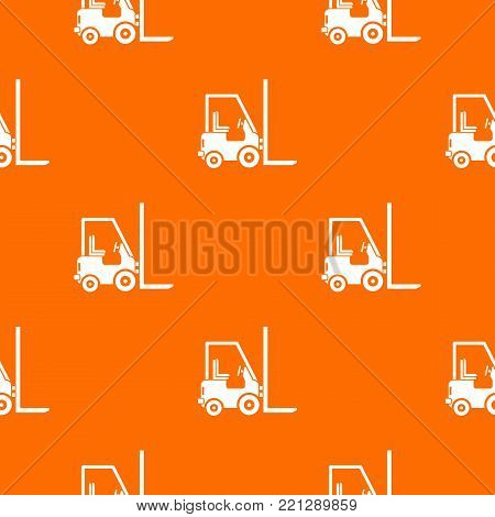 Stacker loader pattern repeat seamless in orange color for any design. Vector geometric illustration