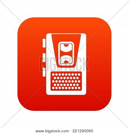 Dictaphone icon digital red for any design isolated on white vector illustration