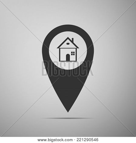 Map pointer with house icon isolated on grey background. Home location marker symbol. Flat design. Vector Illustration