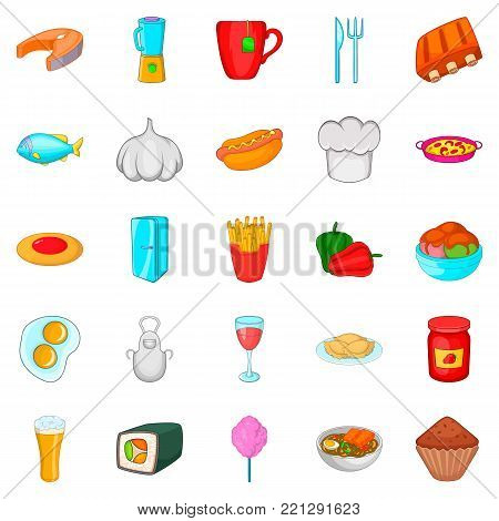 Have supper icons set. Cartoon set of 25 have supper vector icons for web isolated on white background