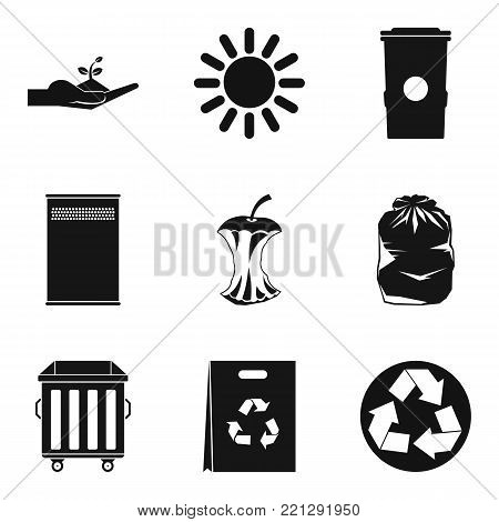 Caring for environment icons set. Simple set of 9 caring for environment vector icons for web isolated on white background
