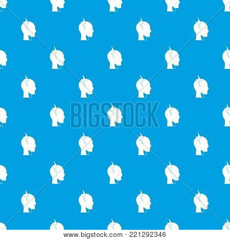 Lightning bolt inside head pattern repeat seamless in blue color for any design. Vector geometric illustration