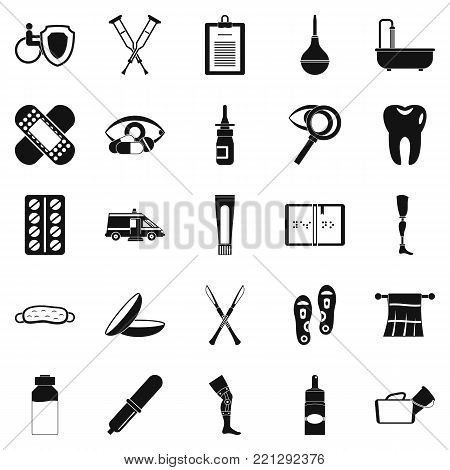 Disabled icons set. Simple set of 25 disabled vector icons for web isolated on white background