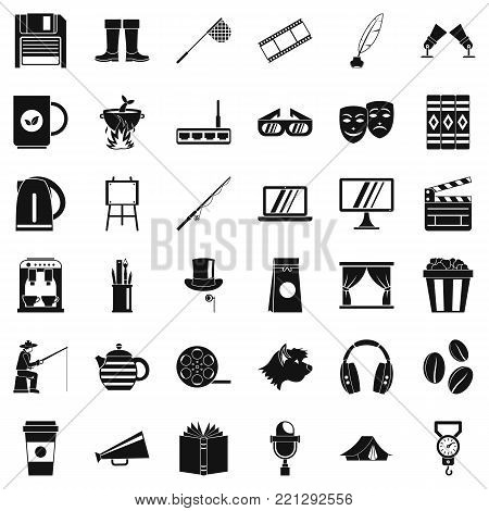 Leisure icons set. Simple style of 36 leisure vector icons for web isolated on white background