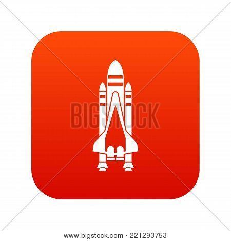 Space shuttle icon digital red for any design isolated on white vector illustration