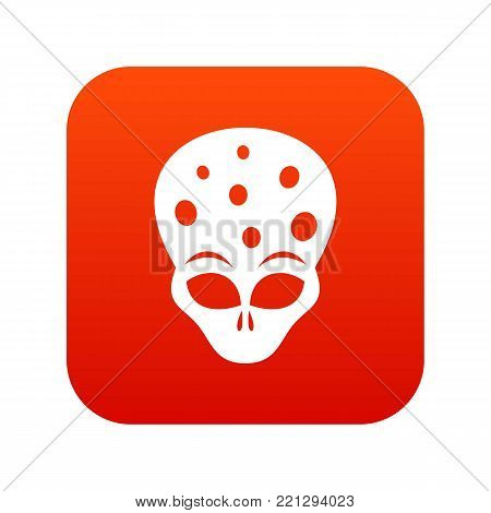 Extraterrestrial alien head icon digital red for any design isolated on white vector illustration