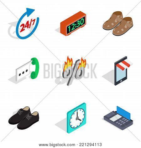 Last minute discount icons set. Isometric set of 9 last minute discount vector icons for web isolated on white background