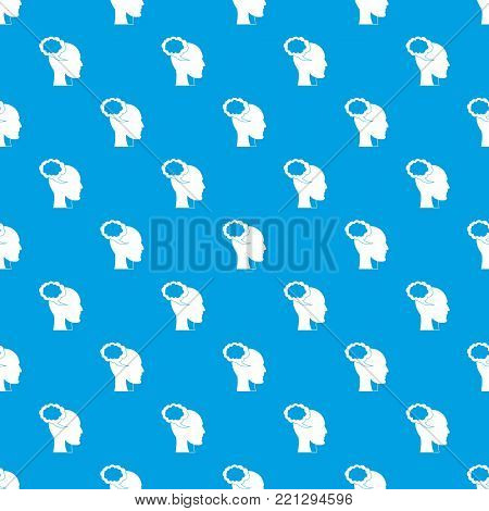 Speech bubble with human head pattern repeat seamless in blue color for any design. Vector geometric illustration