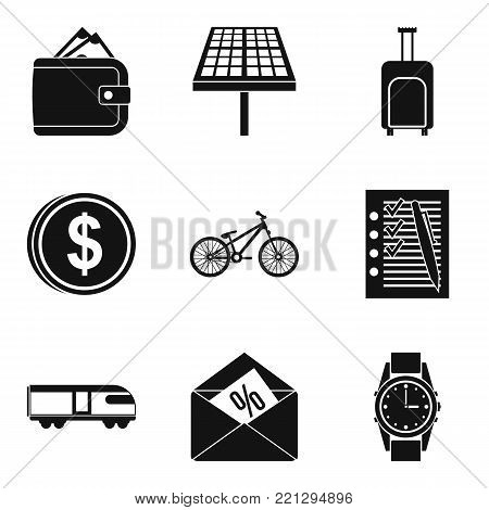 First business icons set. Simple set of 9 first business vector icons for web isolated on white background