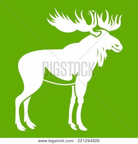Moose icon white isolated on green background. Vector illustration