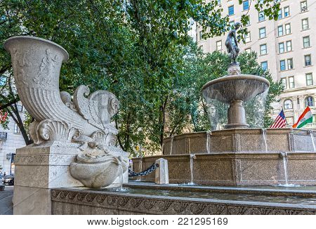 NEW YORK-JULY 24: The Pulitzer Fountain finished in 1916 as seen in the Grand Army Plaza of Central Park on July 24 2015 in New York City.