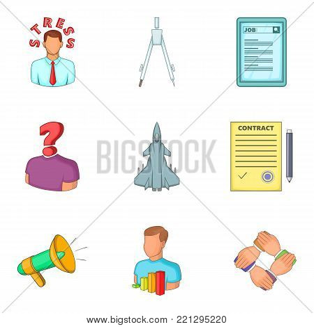Problems of the businessman icons set. Cartoon set of 9 problems of the businessman vector icons for web isolated on white background