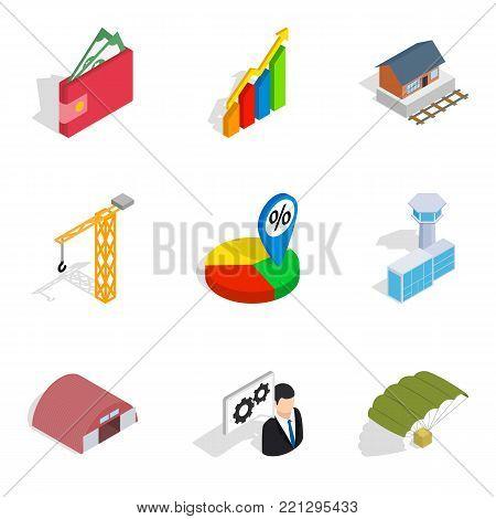 Net profit icons set. Isometric set of 9 net profit vector icons for web isolated on white background