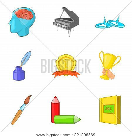 Personal growth icons set. Cartoon set of 9 personal growth vector icons for web isolated on white background