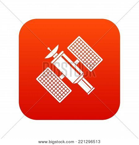 Space satellite icon digital red for any design isolated on white vector illustration