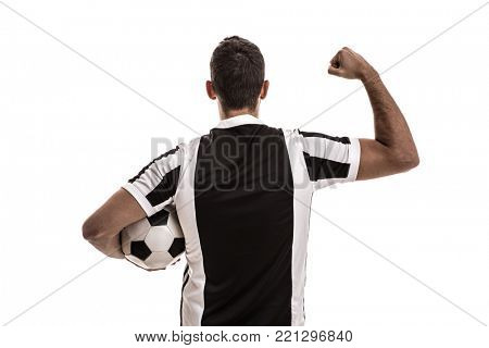 Soccer fan celebrating on white background