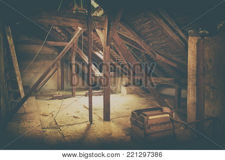 Attic loft insulation. Old loft. renovation and thermal insulation with mineral rock wool. Add color filter