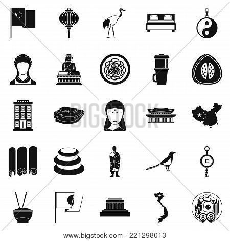 Oriental icons set. Simple set of 25 oriental vector icons for web isolated on white background