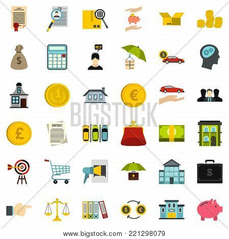 Loan icons set. Flat style of 36 loan vector icons for web isolated on white background
