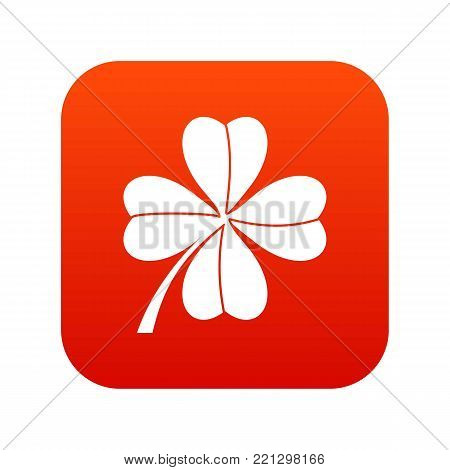 Four leaf clover icon digital red for any design isolated on white vector illustration
