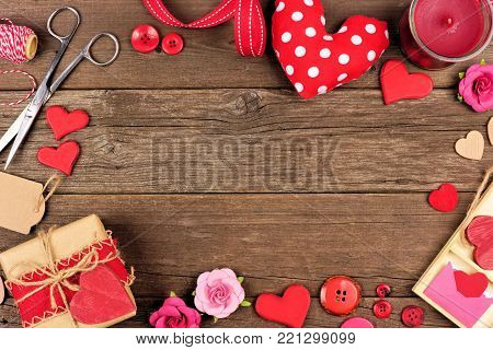 Valentines Day Craft Concept Corner Border Against A Rustic Wood Background With Copy Space.