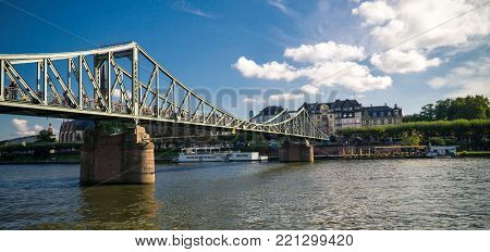 Frankfurt, Germany, Oktober 01, 2017: Skyline of Frankfurt am Main, the financial center of the country, skyscrapers, cloudy day, river Main