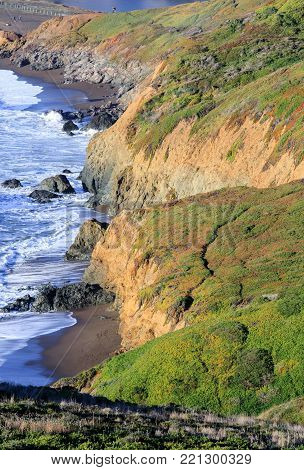 Northern California Rugged Coastline near Rodeo Beach. Battery Mendell, Marin County, California, USA.