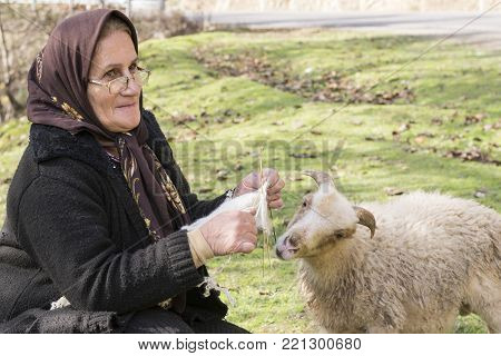 Masuleh, IRAN - December 22, 2017  Portrait of a Muslim woman knitting woollen sock when she care sheep in country side. Gilan Province